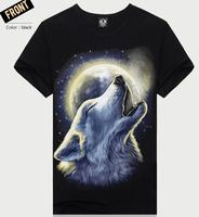 2015 men 3d Three-dimensional t shirt  fashion casual o neck 3d design t shirts punk wolf camisetas europe plus size M-XXXL