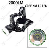2000LM New CREE XM-L2 U2 LED Headlamp 3-Mode L2 Working Headlight (2x3.7V18650) ~ Mail Free