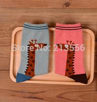 1set =5pairs=10pcs Hot couple giraffe animal cotton socks retro neutral socks