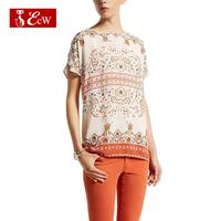 ECW NEW Women T shirt Vintage Cotton European National Style Flower Print T shirt For Woman Spring Summer Roupas Femininas