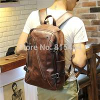 Korean casual designer brand unisex vintage PU crazy horse leather laptop tactical backpack unisex mens rucksack women bookbag