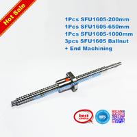 3 New Anti backlash Ballscrews SFU1605-200/650/1000mm+3pcs SFU1605 ballnut for CNC RM1605