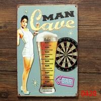 MAN CAVE FOE BEER Metal Poarwe Vintage Wall ART Decor Pub Tin Signl Decor 20*30 CM Mix Items L-134