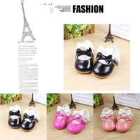 Free shipping 2015 lovely bows baby girls pu leather shoes brand princess shoes non-slip children's casual toddler shoes 9904