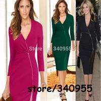 Women Celibrity Elegant Zip Stretch Tunic V-neck Business Wear To Work Party Cocktail Sheath Bodycon Pencil Dresses