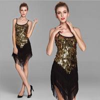 Lady Cocktail Club Wear Skirt Party Latin Dance Asymmetric Sequin Fringe Dress 9 Colors