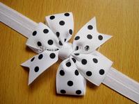New 12pcs/lot baby bow dot baby headbands  elastic headbands hairband