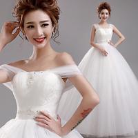 Princess bride slit neckline pearl lace strap winter wedding dress 6800