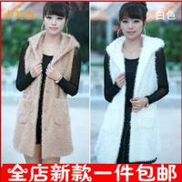 Autumn fashion boutique women's faux berber fleece vest outerwear plush medium-long vest outerwear