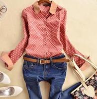 2015 Spring New Ladies Cotton Crochet Polka Dot Vintage Brand Shirts