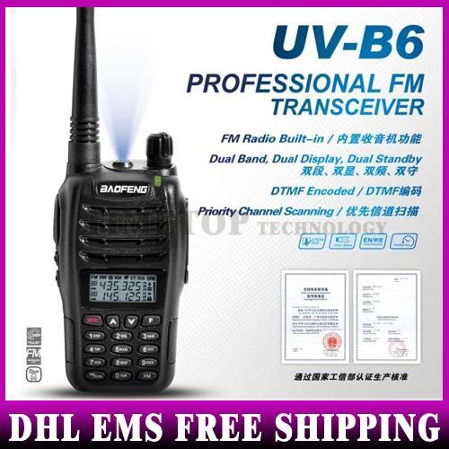 50PCS Wholesale Dual Band VHF UHF 5W Walkie Talkie UV-B6 Two Way B6 Radio With Full Accessories Free Shipping(China (Mainland))
