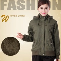FREE SHIPPING plus size loose thicken standing collar plush lining pure cotton fabric women short hooded cotton-padded jackets