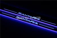 high quality Car rear bumper step scuff plate  for Hyundai IX45 or All the new Santa Fe 2013-2015  2015 LED door sill plate