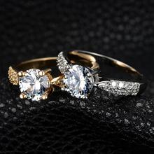 New Design hot Fashion High quality Plating Gold Silver SWA Crystal Ring jewelry CZ Diamond Wedding