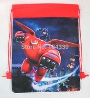 New styles school bag backbag 12pcs Big Hero 6 drawstring bag