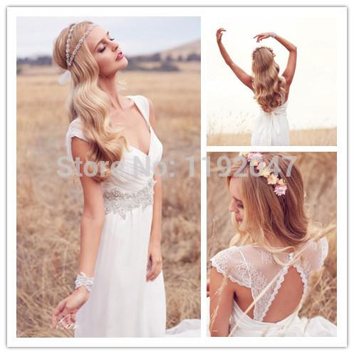 lace bridal gowns V neck Cap Sleeve vintage Wedding Dress Beaded