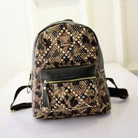 ANGEL ! 2015 travel bags casual women backpack Leopard pu leather shoulder bag school bags Fashion rivet  design bags FF661