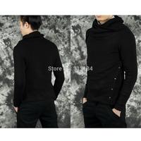 1pc 2014 New Fashion Korean Version Warm Men's Sweater Long Sleeve Casual Knitwear Slim Turtleneck Heaps Collar Knit Pullover