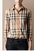 Europe and the new BLK classic BUR cotton Plaid Shirt women's long sleeve shirt T-A47