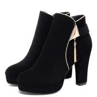 Cheap Autumn 2015 New Korean Version Of Deep Rough With Round Toe Shoes Casual Women's High Heel Platform Boots