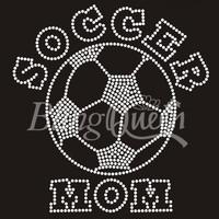 25PCS/LOT Custom Iron On Rhinestone Bling Transfers Soccer Mom Design