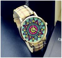 Free Shipping 2015 New 9 Colour Woman Geneva Brand Watch Fashion Individuality Leather Golden Watch Women Dress Quartz Watches