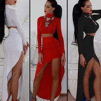 LC6573 Formal clothing floor length gown robe de soiree White Long-sleeve dress Set with Asymmetric Hemline