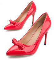 2014 Sexy Thin High-heeled Women Pumps, Shoes With Bowtie And Flower Pointed Toe Slip-on Wedding And Party Dress Shoes XWD1335