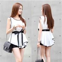2015 Women Blouses White Slim Blusas With Belt Femininas Sleeveless Chiffon O-neck Tops Casual Women's Clothing Shirts S-XL