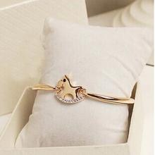 Rose gold crystal horse/cavalo female bracelet/korean luxury strass hand chain/pulsera mujer/pulseiras femininas/brazalete/charm