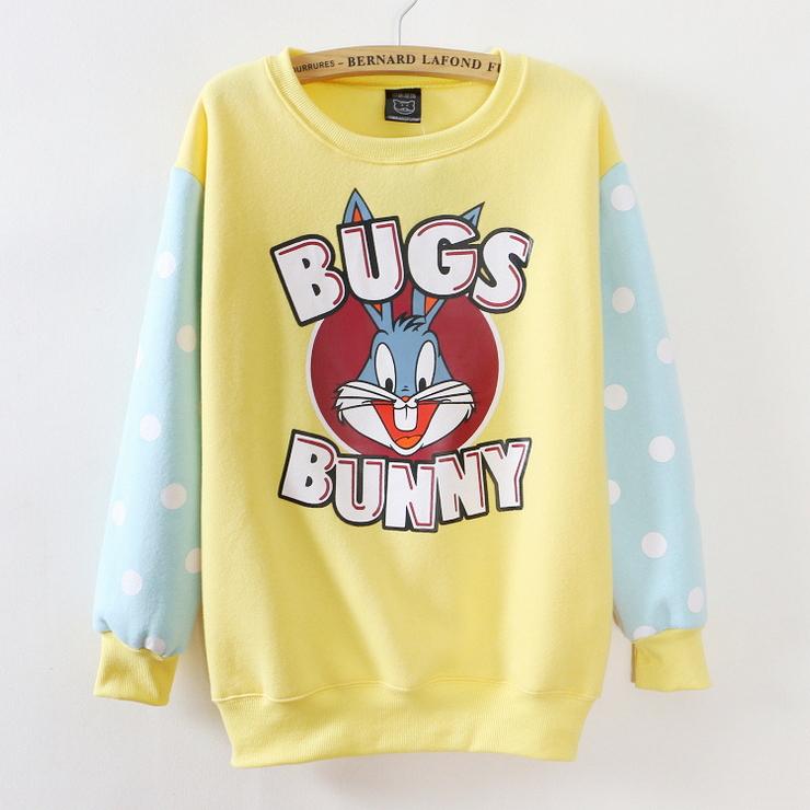 2014 Brand women Rabbit Printed knitted embroidery high quality fleece inside winter women hoody warm sudaderas sweatshirt gaps(China (Mainland))