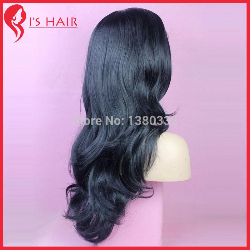W084 Kanekalon волокно сексуальный длинная косплей парик для ну вечеринку синтетический волос парики не полный кружево перед парик 1 # черный цвет