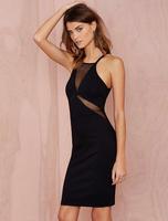 European fashion women sexy dress low cut gauze dress for summer wear perspective hollow Slim package dress club hot sale dress