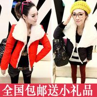 2014 winter women's cotton-padded jacket short design turn-down collar small wadded jacket outerwear berber fleece cotton-padded