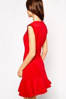 New Arrival Women dress 2015 elegant wavy edge dress cozy plus size XS-XXL Spring Summmer dress Good Quality vestidos