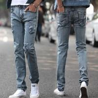 New winter male Korean elastic jeans jeans male pencil pants