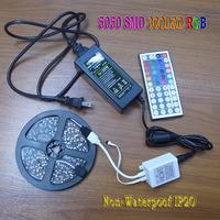 5050 RGB LED Strip set Flexible LAMP Light Tape 5M 300 LED 60LED/M Non-Waterproof IP20 44 Keys IR Remote Controller 12V 5A Power
