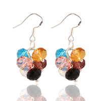 New Design Fashion Charm Colorful crystal beads drop earrings jewelry Geometry Ball Round Statement earring for women 2015 M11