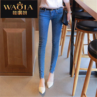 New Hot Europe Women Jeans Show Thin Wash Pencil Pants Dark Feet Pants Skinny Full Length Fashion High Quanlity Casual Jeans