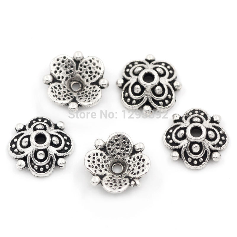 2500Pcs Wholesale Silver Tone Four Flowers End Beads Caps Metal Jewelry Making Findings Charms Component 10mmx10mm(China (Mainland))