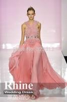 2015 Elegant Crew Neck Sheath Evening Dresses Applique Zipper Sash Floor Length Chiffon Evening Gowns Prom Dresses