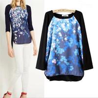 Women'Maple Leaf Print Blue Blouse Gradient Knit Spliced Long Sleeve T-shirt Casual Oversized Outwear Knit Tops