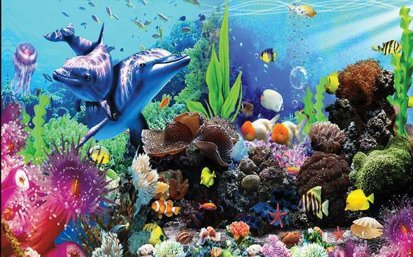 Customize wallpaper papel de parede 3d stereoscopic for Aquarium mural wallpaper