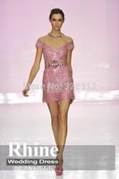 2015 Sexy Crystal Crew Neck Sheath Evening Dresses Short Sleeve Zipper Short Evening Gowns Prom Dresses