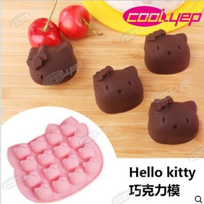 16 Hole Hello Kitty Silicone Fondant Silicone Chocolate Sugar Craft Molds Cartoon DIY Cake Decorating D060(China (Mainland))