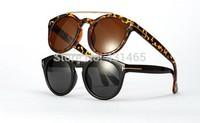 Hot Sale 2015 new Sunglass women&men UV400 big Round fashion trendy plastic Frame Sun Glasses free shipping