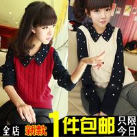 2014 autumn honey juniors clothing school wear autumn long-sleeve women's pullover sweater outerwear