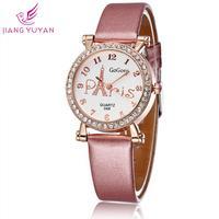 Hot Sale Wacth Women Luxury Brand Gogoey Fashion Casual Watch Leather Straps Wrist Watch Eiffel Tower Design
