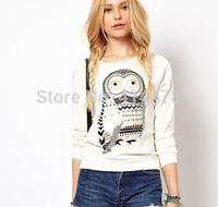 Hot sale women 2015 clothes pullover rhinestone cartoon owl sprint sweatshirt  girl fashion white hoodies sweater  free shipping