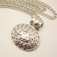 NQ024 Antique Silver Round Pendant Long Chain Vintage Necklace Jewelry bijouterie for Women Girls